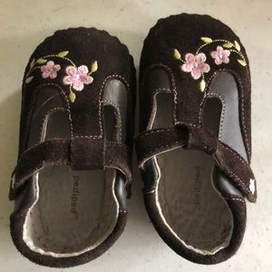 Pediped size 18-24 mo.  brown shoes with flowers